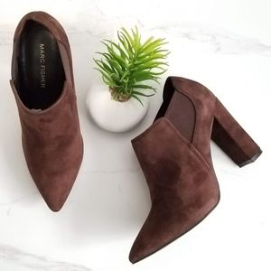 Marc Fisher Hydra Ankle Boots Brown Suede Chelsea